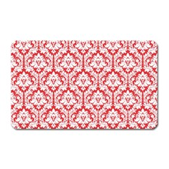 White On Red Damask Magnet (rectangular) by Zandiepants
