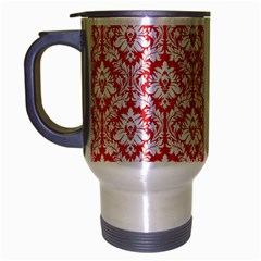 White On Red Damask Travel Mug (silver Gray) by Zandiepants