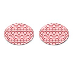 White On Red Damask Cufflinks (oval) by Zandiepants