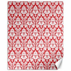 White On Red Damask Canvas 11  X 14  (unframed) by Zandiepants