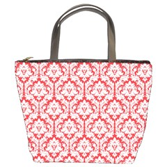 Poppy Red Damask Pattern Bucket Bag by Zandiepants