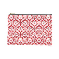 Poppy Red Damask Pattern Cosmetic Bag (large) by Zandiepants
