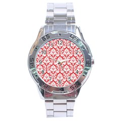White On Red Damask Stainless Steel Watch by Zandiepants