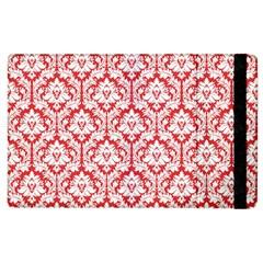 White On Red Damask Apple Ipad 3/4 Flip Case by Zandiepants