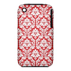 White On Red Damask Apple Iphone 3g/3gs Hardshell Case (pc+silicone) by Zandiepants