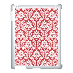 White On Red Damask Apple Ipad 3/4 Case (white) by Zandiepants