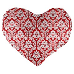 Poppy Red Damask Pattern Large 19  Premium Heart Shape Cushion