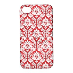 White On Red Damask Apple Iphone 4/4s Hardshell Case With Stand