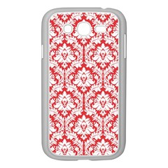 White On Red Damask Samsung Galaxy Grand Duos I9082 Case (white) by Zandiepants