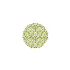 White On Spring Green Damask 1  Mini Button Magnet