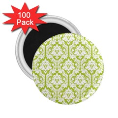 White On Spring Green Damask 2 25  Button Magnet (100 Pack) by Zandiepants