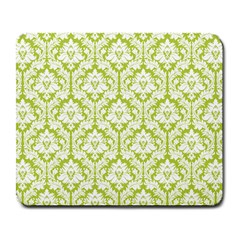 White On Spring Green Damask Large Mouse Pad (rectangle) by Zandiepants