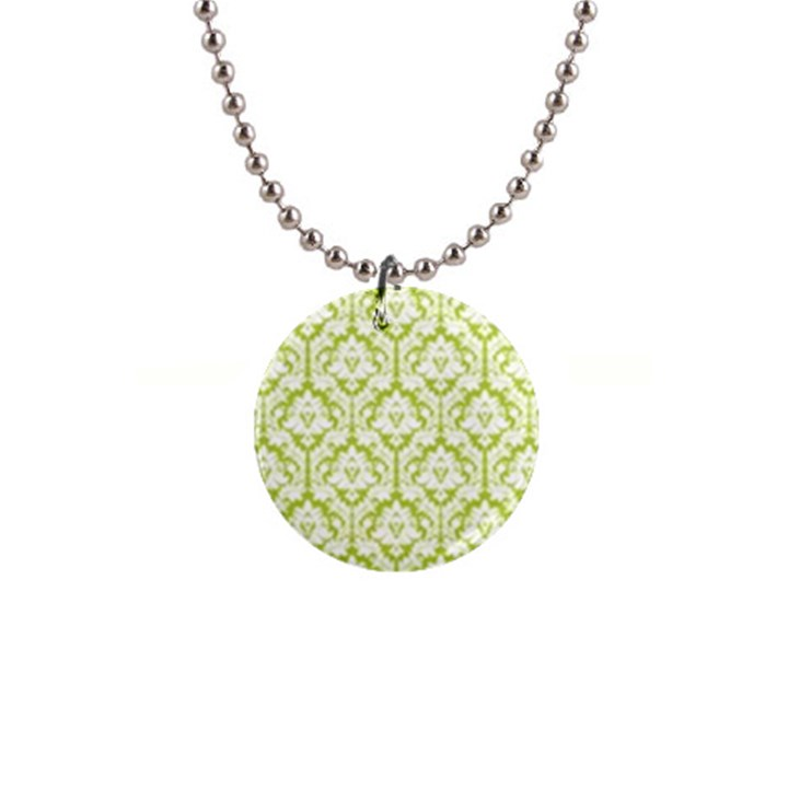 Spring Green Damask Pattern 1  Button Necklace