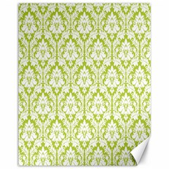 White On Spring Green Damask Canvas 11  X 14  (unframed) by Zandiepants
