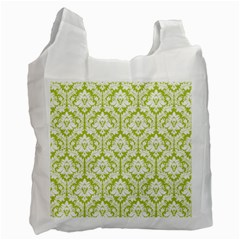 White On Spring Green Damask White Reusable Bag (one Side) by Zandiepants
