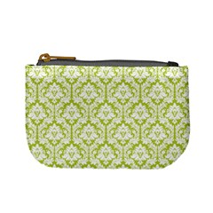 Spring Green Damask Pattern Mini Coin Purse