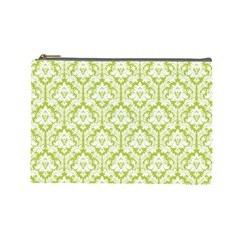 Spring Green Damask Pattern Cosmetic Bag (large) by Zandiepants