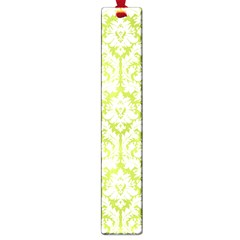 White On Spring Green Damask Large Bookmark by Zandiepants