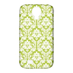 White On Spring Green Damask Samsung Galaxy S4 Classic Hardshell Case (pc+silicone) by Zandiepants