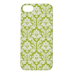 White On Spring Green Damask Apple Iphone 5s Hardshell Case by Zandiepants