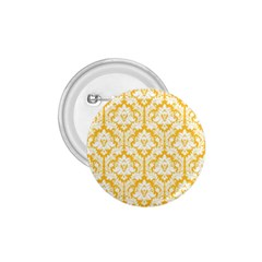 White On Sunny Yellow Damask 1 75  Button