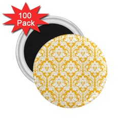 White On Sunny Yellow Damask 2 25  Button Magnet (100 Pack)