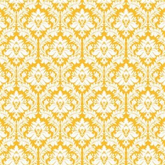 White On Sunny Yellow Damask Canvas 16  X 16  (unframed) by Zandiepants