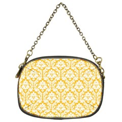 White On Sunny Yellow Damask Chain Purse (one Side)