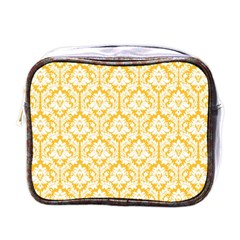 White On Sunny Yellow Damask Mini Travel Toiletry Bag (one Side) by Zandiepants