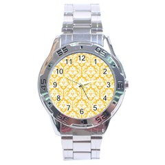 White On Sunny Yellow Damask Stainless Steel Watch by Zandiepants