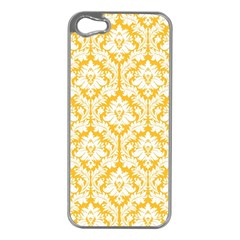 White On Sunny Yellow Damask Apple Iphone 5 Case (silver) by Zandiepants