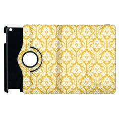 White On Sunny Yellow Damask Apple Ipad 3/4 Flip 360 Case by Zandiepants