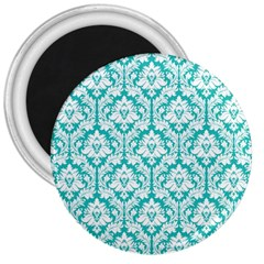 White On Turquoise Damask 3  Button Magnet by Zandiepants
