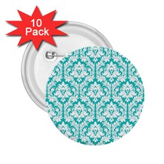 White On Turquoise Damask 2 25  Button (10 Pack)