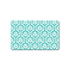 White On Turquoise Damask Magnet (name Card)