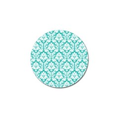 White On Turquoise Damask Golf Ball Marker by Zandiepants