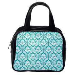 White On Turquoise Damask Classic Handbag (one Side) by Zandiepants