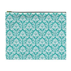 Turquoise Damask Pattern Cosmetic Bag (xl)