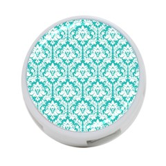 White On Turquoise Damask 4 Port Usb Hub (one Side) by Zandiepants