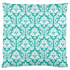 Turquoise Damask Pattern Large Cushion Case (one Side) by Zandiepants