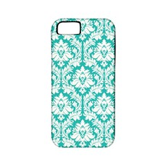 White On Turquoise Damask Apple Iphone 5 Classic Hardshell Case (pc+silicone) by Zandiepants