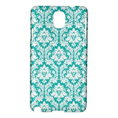 White On Turquoise Damask Samsung Galaxy Note 3 N9005 Hardshell Case by Zandiepants