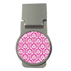 White On Hot Pink Damask Money Clip (round) by Zandiepants