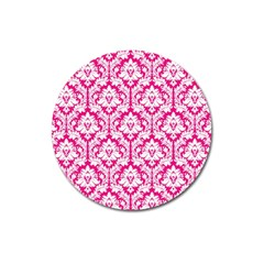 White On Hot Pink Damask Magnet 3  (round) by Zandiepants
