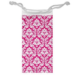 White On Hot Pink Damask Jewelry Bag