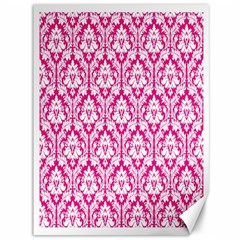 White On Hot Pink Damask Canvas 36  X 48  (unframed)