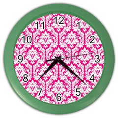 White On Hot Pink Damask Wall Clock (color)