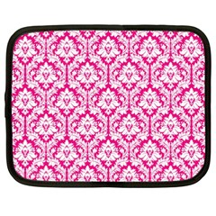 White On Hot Pink Damask Netbook Sleeve (xxl) by Zandiepants