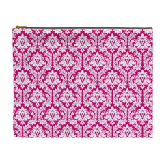Hot Pink Damask Pattern Cosmetic Bag (xl) by Zandiepants