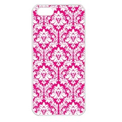 White On Hot Pink Damask Apple Iphone 5 Seamless Case (white) by Zandiepants